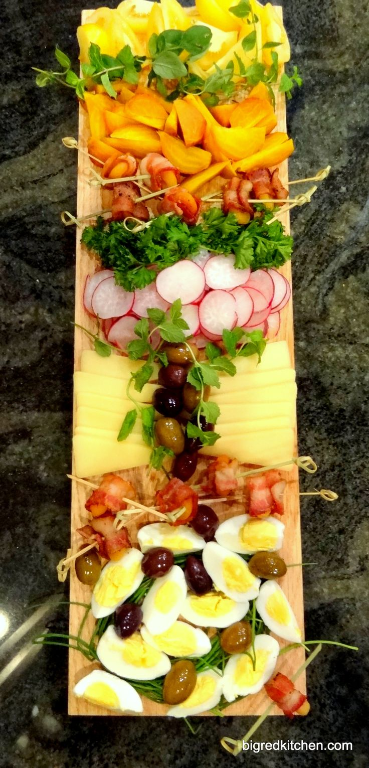 Appetizer idea for a party - deviled eggs on the antipasto tray