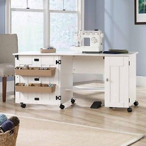 Sewing Machine Table Craft Storage Desk White Shelves New Folding Drop Leaf Long #Sauder