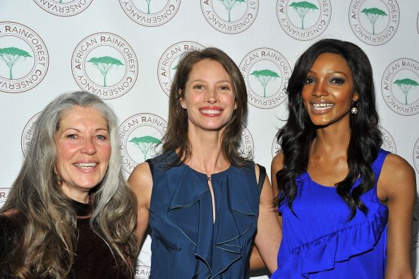 LR Ecoactivist and 2008 New Species recipient Gloria Flora model Christy Turlington Burns and model Millen Magese attend the African Rainforest...