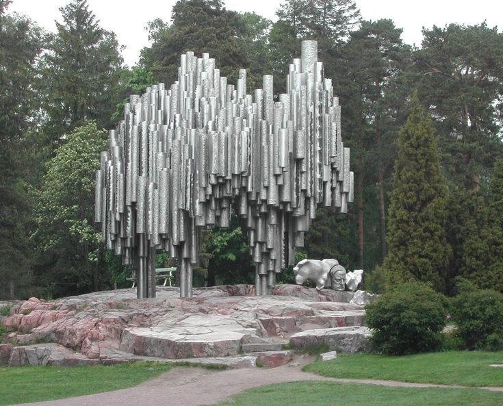 Helsinki Finland tribute sculpture to Finnish composer Jean Sibelius