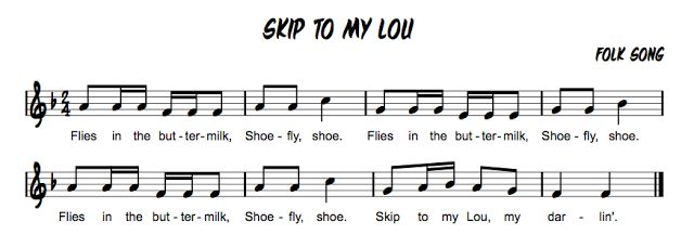 Skip to my Loo Pair with  Skip To My Lou / Bow Belinda / Sandy Land / Shoo Fly / Rock a My Soul / This Train / Old Brass Wagon Beth's Music Notes: Partner Songs & Countermelodies
