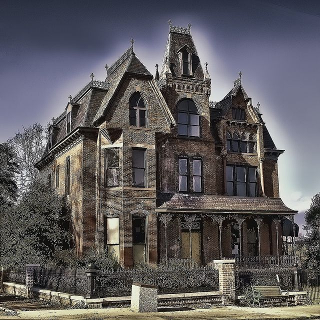 The Charles M.Sublett House on Millionaire Row in Danville, Virginia. This Victorian Gothic style home was built in 1874 by Mr. Sublett for his bride Jennie Cosby. It has 31/2 stories and is supposedly haunted in this historic district.   via: curious history.com