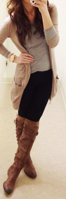 #winter #fashion / knee length boots + beige cardigan