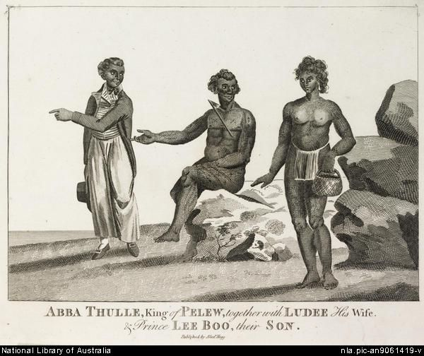 Abba Thulle, king of Pelew, together with Ludee his wife & Prince Lee Boo their son [picture].