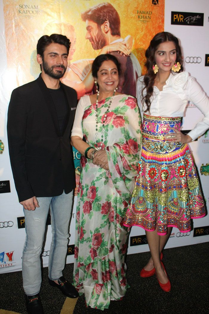 'Khoobsurat' couple Sonam Kapoor and Fawad Khan along with Kirron Kher in Delhi for the promotion of their film.