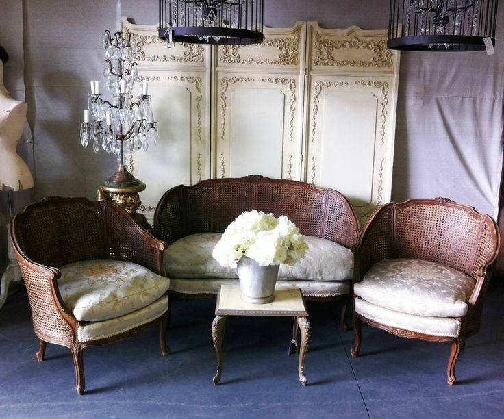 Vintage French Louis XVI Double Cane Hall Settee + Matching Armchairs SALE!
