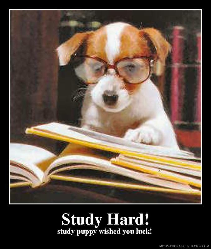 Wishing you some study and exam luck! :0)