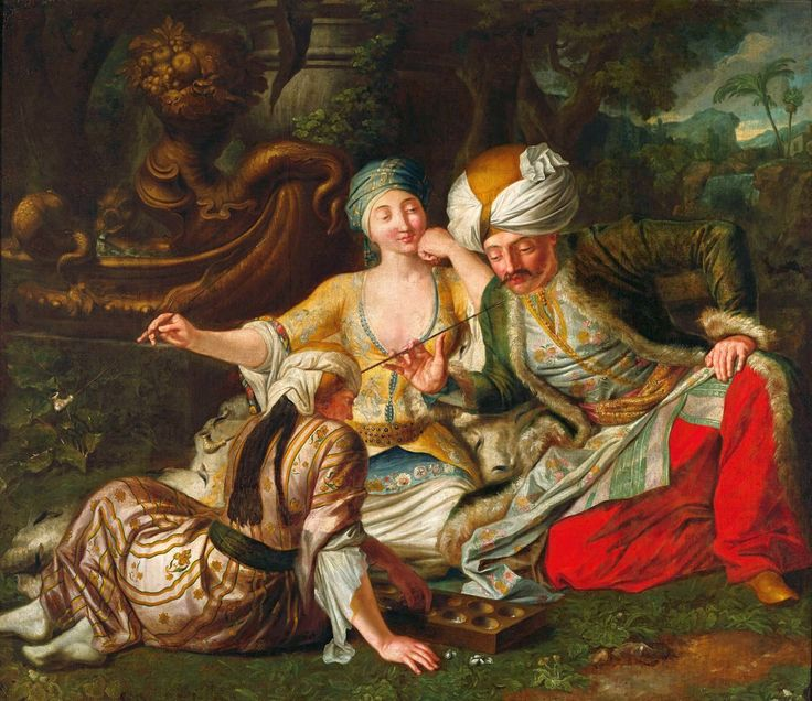 """Mangala players by Johann Samuel Mock, ca. 1730-1735 (PD-art/old), Muzeum Narodowe w Warszawie (MNW), according to inventory of the royal collection in the Saxon Palace in Warsaw from 1739 it depicts the royal eunuch Matthias accompanied by odalisques playing a dice game called """"moungalla"""""""