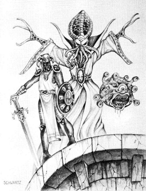 """Akuloth the ulitharid (noble illithid), with Alak Argith the traitorous drow and Zhamthrul the beholder. (Stephen Schwartz, from the Underdark adventure """"Thunder Under Needlespire"""" by James Jacobs, Dungeon 24, TSR, July/August 1990) The 1977 Monster..."""