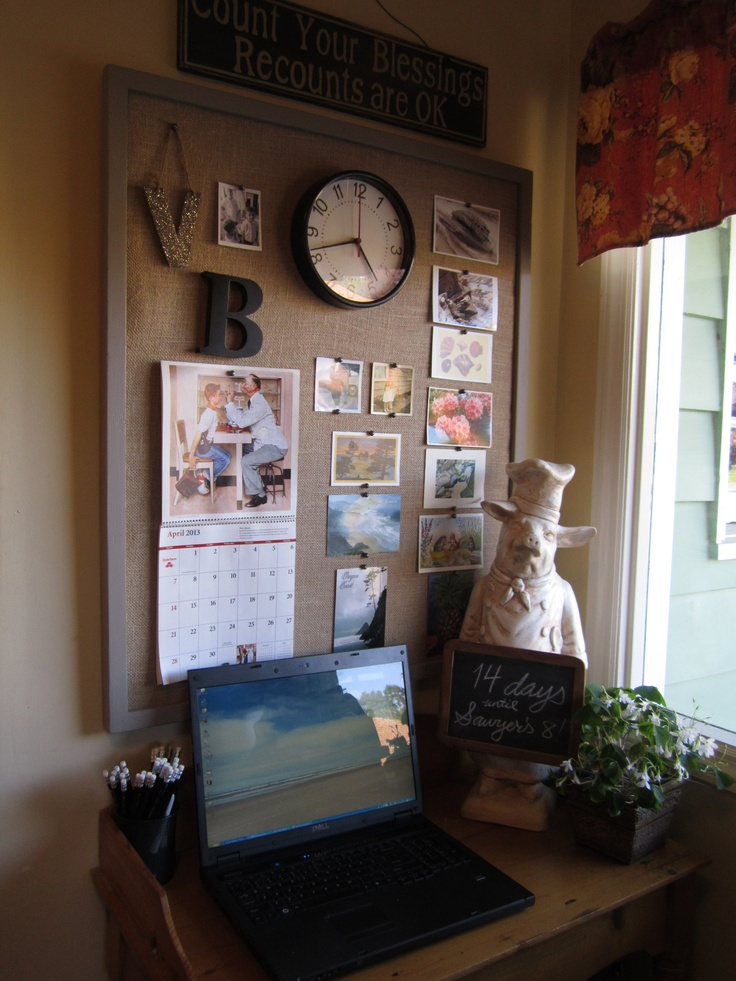 Made myself A large burlap bulletin board for Kitchen