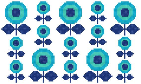 Cross Stitch Pattern, 'Make a Wish' PDF Inspired by the floral designs found on vintage fabric and wallpaper of the 1960s and 70s, this pattern