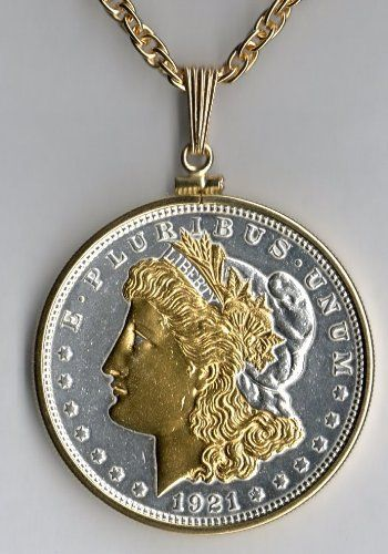 Old U.S. Silver dollar 2-Toned Gold and Silver coin Necklace