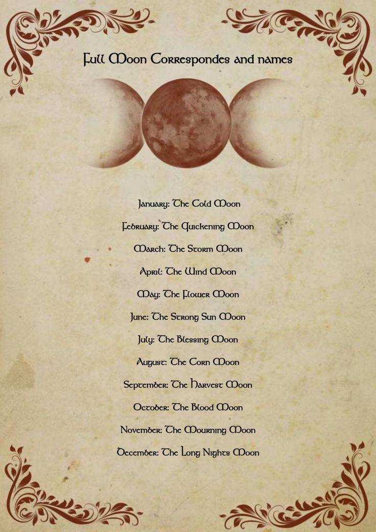 Book of shadows Full moon correspondes PDF by OnyxKeys on Etsy