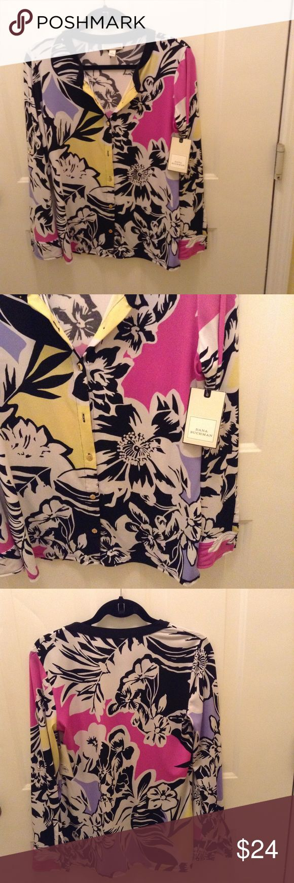 Knit Button Front Blouse This beautiful top has a floral pattern with bold colors of pink, yellow, lavender, black, & white!!  It has roll up sleeves with a closure gold button and small bottom slide slits. It's 25 inches long and 95% Polyester & 5% Spandex. Dana Buchman Tops Blouses