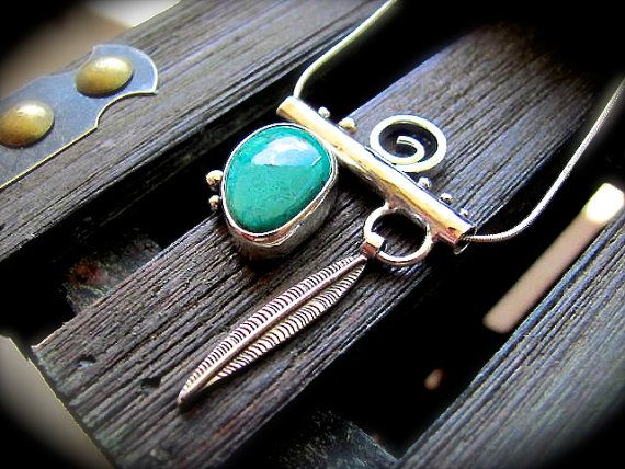 Chrysocolla Silver Bar Necklace  Charm by DeliasStudioLimited