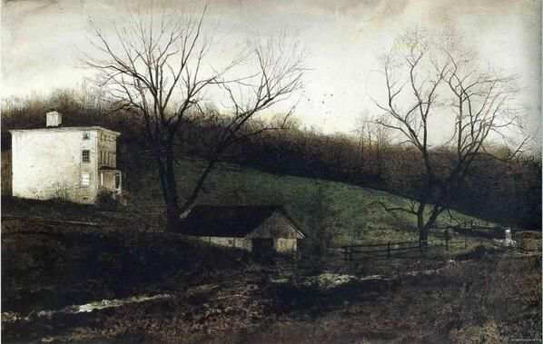 Evening At Kuerners , oil on canvas (1972) Andrew Wyeth