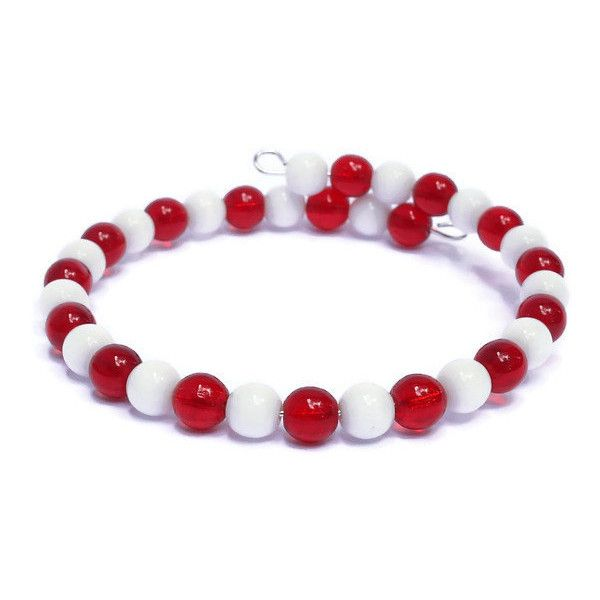 Red White Country Flag Colors Bracelet Austria, Bahrain, Canada,... ($20) ❤ liked on Polyvore featuring jewelry, bracelets, red bangles, white jewelry, red jewelry, white bangle and red jewellery