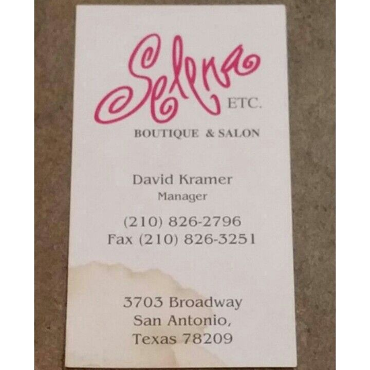 Selena boutique business card