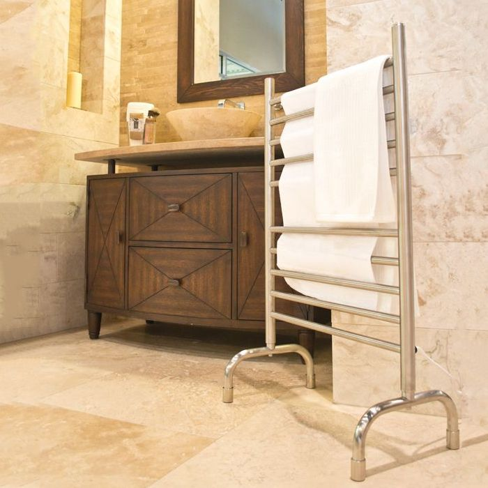 A freestanding heated towel rail.
