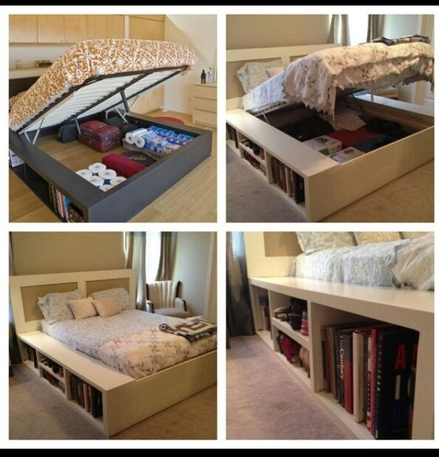 Bookshelf bed project pinterest awesome beds and - Lift up under bed storage ...