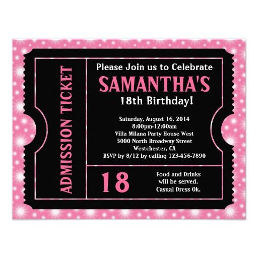7 best 18th Birthday Party Invitations and Ideas Pink and Black – 18th Birthday Party Invites