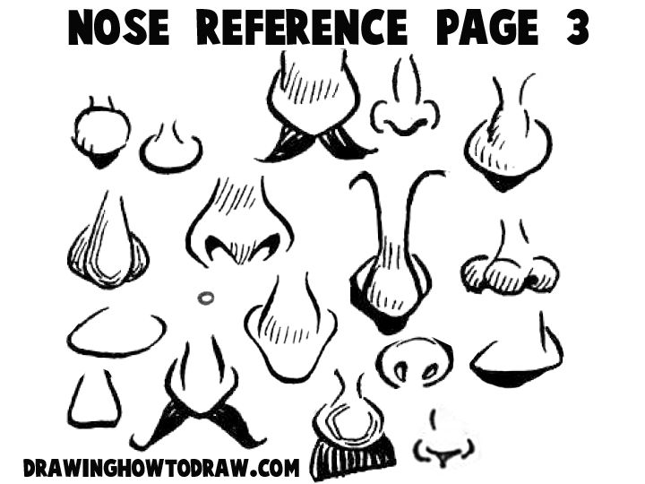 Step noses reference 3 300x225 Cartoon Noses Reference Sheets and Examples for Drawing Practice