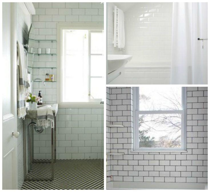 White Subway Tile Shower, Tile Shower Shelf And