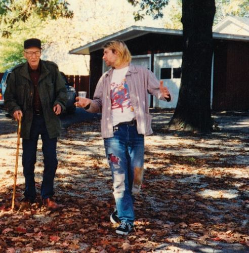 William S. Burroughs and Cobain at Burrough's Lawrence, Kansas, home. Kurt later said they mostly talked about Leadbelly.