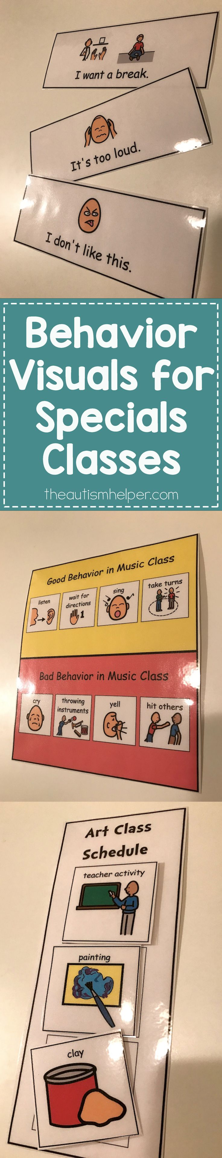 We want to share support for our specials classes - like gym, music & art - with specific behavior visuals! Our students may frequent these classes yet feel unfamiliar with them. Time to pull those same strategies that are successful in your classroom into the specials room!! From theautismhelper.com #theautismhelper