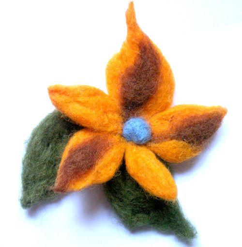 Broches flores fieltro modelable