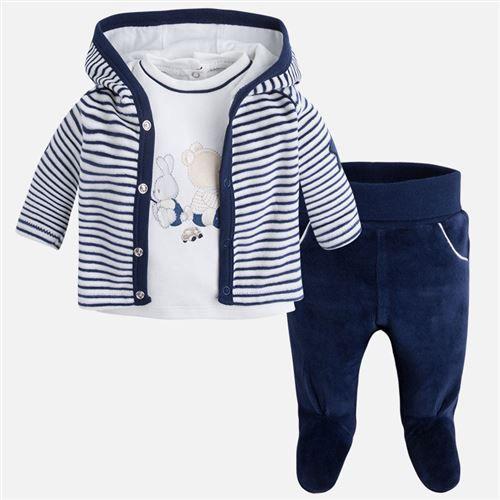 Mayoral Erkek Bebek Kışlık Kadife Kapşonlu Ceket Patikli Pantolon 3lü Set Koyu Mavi