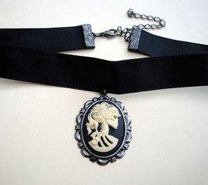 Gothic pirate skeleton lady cameo choker -- via Pirate Treasures