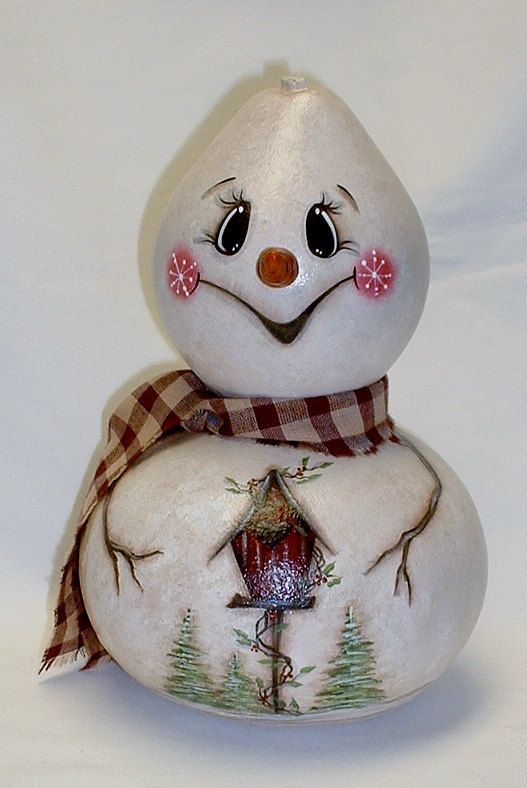Snowman Gourd with Birdhouse  Hand Painted Gourd by FromGramsHouse, $38.00