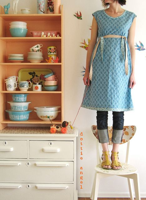 grown ups stand on chairs, too: Dottie Angel, Angel Style, Cute Dresses, Rolls Jeans, Vintage Pyrex, Dotty Angel, Angels, The Dresses, Photo