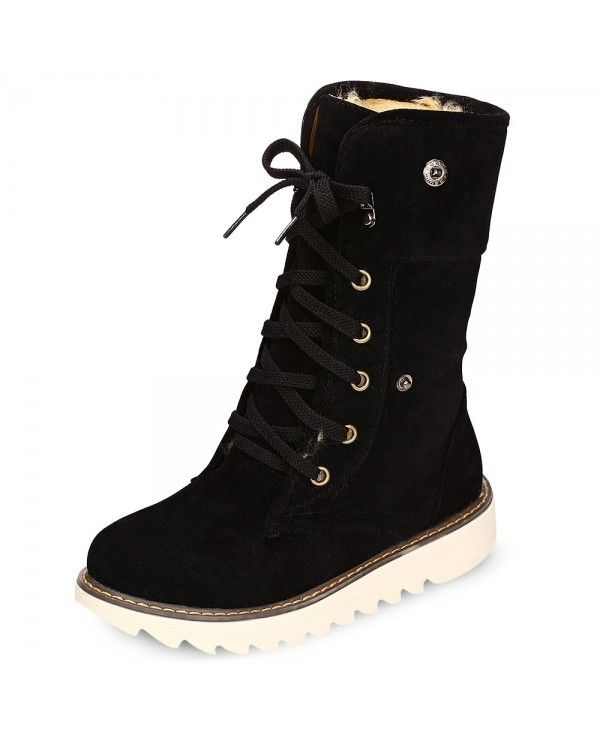 2b63acd6720 Female Winter Warm Suede Lace-up Skid-resistance Ankle Boots - Black -  3A30325219