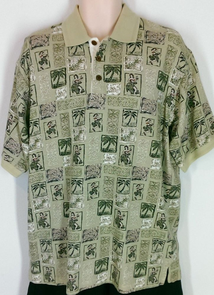 Men's Palm Island Clothing Co. Hawaiian Tropical Green Polo Shirt Sz Large  #PalmIslandClothingCo #PoloRugby