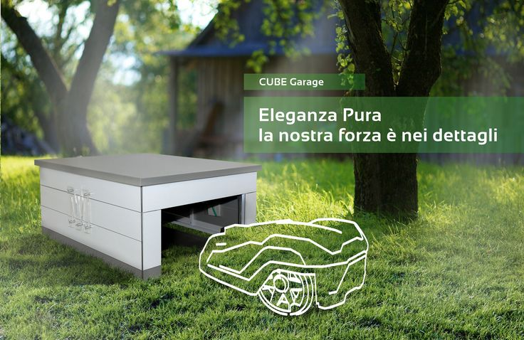 automower rasenm her roboter robotic lawn mower tondeuse robot garage cube. Black Bedroom Furniture Sets. Home Design Ideas
