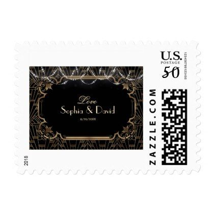 Chic Black Gold Great Gatsby Art Deco 20s Wedding Postage - elegant gifts gift ideas custom presents