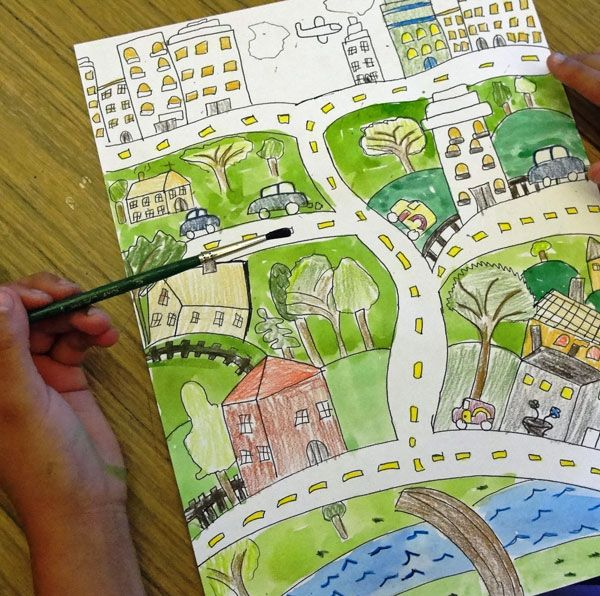 folk art city - line drawing. love this! Each kid could draw a map of a real place or something from their imagination