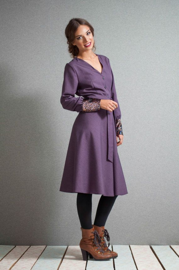 Midi Dress Purple dress buttoned down by LeMoutonBleuShop on Etsy