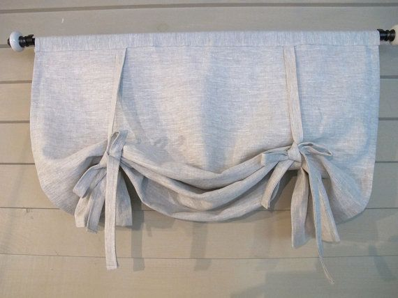 """Gray Linen 48"""" Long Swedish Roll Up Shade Stage Coach Blind Tie Up Curtain Swag Balloon Custom Made to Order"""