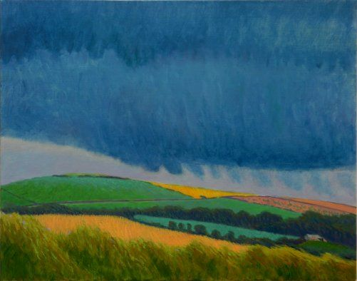Summer storm over Castle an Dinas painting by Tom Henderson Smith approx 60 x 80 cm. Acrylic on stretched canvas