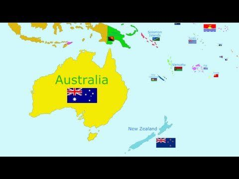 The Countries of the World Song - Oceania. Includes Australia, the world's smallest continent, and all the nearby countries and islands. Includes flags for each.