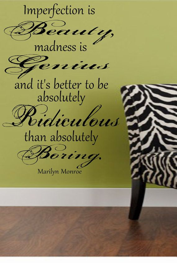 Marilyn Monroe Imperfection Wall Decal Quote Lettering