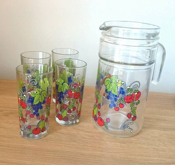 Vintage Jug and Glasses Set Pitcher Picnic pitcher Water