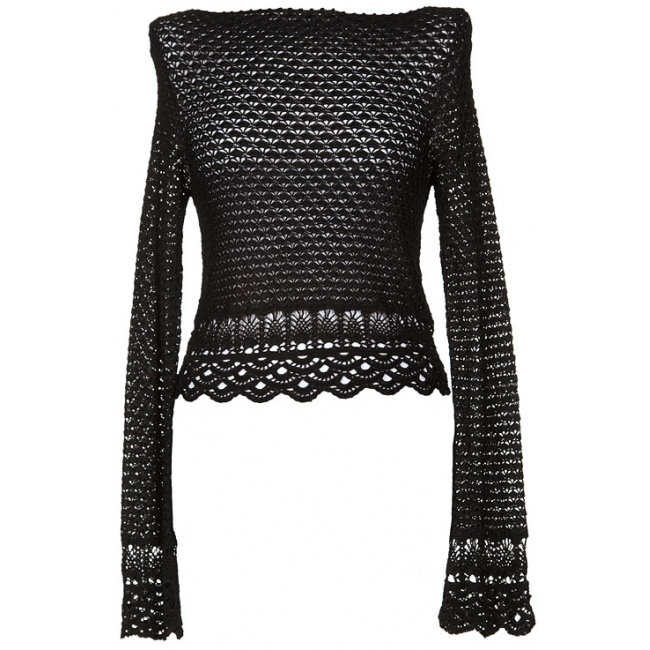 Ralph Lauren Black Crochet Top...i could add edging to my own top like this!!
