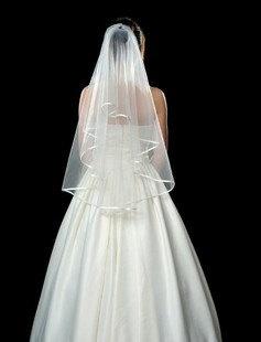 Custom make Wedding Veil Bridal Veil White Ivory Satin Edge Veil Elbow Fingertip Length Veil One Tier. $21.99, via Etsy.