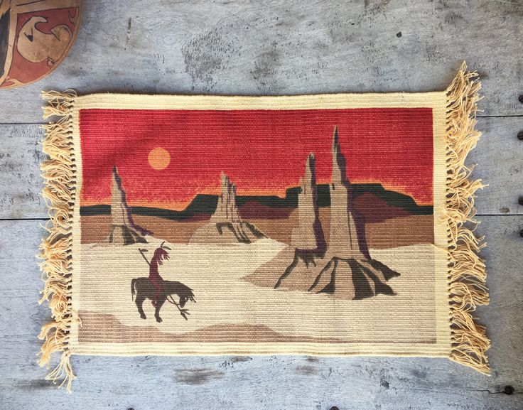 Southwestern Placemat End of the Trail Southwestern Decor, Western Cabin Decor
