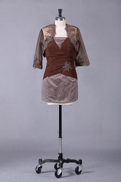 Sheath-Column Chiffon Mother Of Bride Dress wr1231 - http://www.weddingrobe.co.uk/sheath-column-chiffon-mother-of-bride-dress-wr1231.html - NECKLINE: Strapless. FABRIC: Chiffon. SLEEVE: Half Sleeves. COLOR: Brown. SILHOUETTE: Sheath/Column. - 130.59