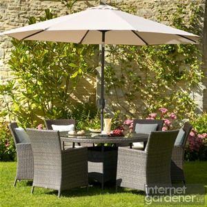 Bramblecrest Rio 6 Seat Round Grande Armchair Rattan Garden Set